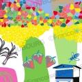 ville-nature-abeille-potager-toit-illustration
