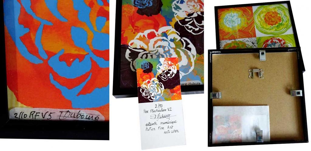numérotation et signature des estampes Rose de Françoise Dubourg