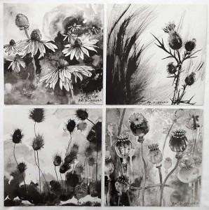 4 reproductions d'encres de Chine - Françoise Dubourg